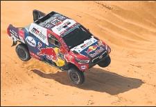 ?? Rally dakar ?? El piloto catarí Nasser Attiyah durante el recorrido de ayer de los 334 km, en la octava etapa del Dakar.