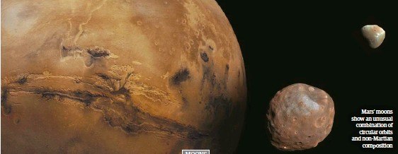 ??  ?? Mars' moons show an unusual combination of circular orbits and non-Martian composition
