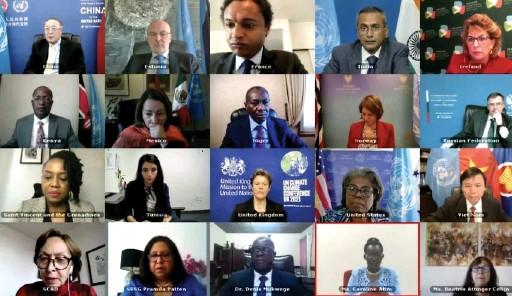 ??  ?? Visioconférence du Conseil de sécurité des Nations unies sur les violences sexuelles liées aux conflits, le 14 avril. Huu Thanh/VNA/CVN