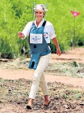??  ?? A son's tribute: Prince Harry, right, walks through the minefield in Angola, where his mother famously trod in 1997, above