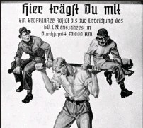 ?? U.S HOLOCAUST MUSEUM ?? 'You Are Sharing the Load! A Hereditarily Ill Person Costs 50,000 Reichsmarks on Average Up to the Age of Sixty' says this image from a high school biology textbook by Jakob Graf.