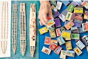 ??  ?? Philip Warren, above, began making matchstick models of military ships in 1948 and said he 'counts himself very, very lucky' to still be doing his pastime at the age of 90