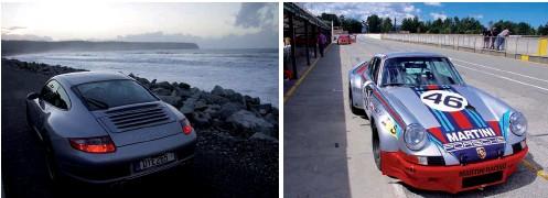 ??  ?? Far left: Twilight at Bruce Bay, Tasman Sea. Left: Tipler drives Brent Jones' other Porsche: a brand-new '73 Martini 911 RSR replica