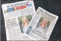 ?? AP PHOTO ?? Front pages of two Australian newspapers on Tuesday, featuring photos and story of the shooting death of Australia's Justine Damond who was shot dead by a Minneapolis police officer on Saturday. Australia's airwaves, newspapers and websites have been...