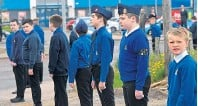 ??  ?? Boys' Brigade members line the streets in tribute