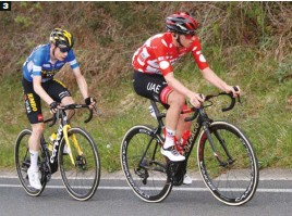 ??  ?? 3 Vingegaard, secante. El joven danés del Jumbo-Visma, segundo en la Itzulia, no se separó de Pogacar en la etapa final.
