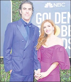 ??  ?? In this file photo show Baron and his wife actress Isla Fisher arrive for the 77th annual Golden Globe Awards on Jan 5, 2020, at The Beverly Hilton hotel in Beverly Hills, California. — AFP photo