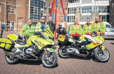 ??  ?? Volunteers from Yeovil Freewheelers Blood Bikes answered a call to transport blood samples from a coronavirus test centre in Somerset