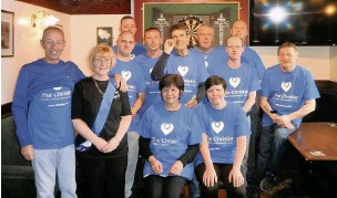 ??  ?? The team that took part in the darts marathon at the Jolly Crofter pub