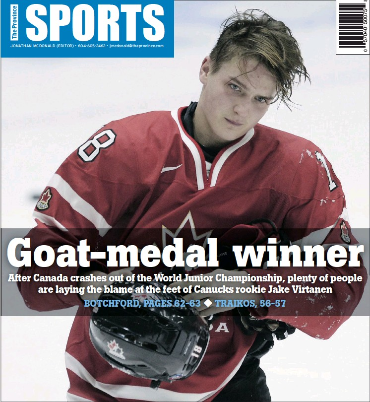 ?? — GETTY IMAGES ?? Jake Virtanen was loaned to Team Canada for developmental reasons, but the Canucks rookie never found his form at the World Junior Championships, and now returns home early after Canada lost to Finland in the quarter-finals on Saturday.