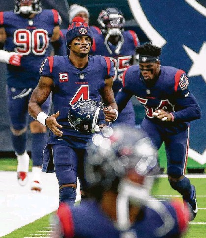 ?? Jon Shapley / Staff photograph­er ?? Deshaun Watson is relying on others to convey a narrative that won't help the Texans improve if he does hang around.