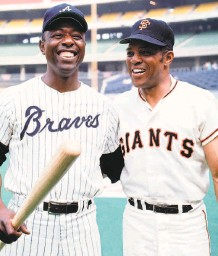 ?? Herb Scharfman / Sports Imagery / Getty Images 1970 ?? Atlanta's Hank Aaron and Mays represented the National League in the 1970 AllStar Game in Cincinnati.