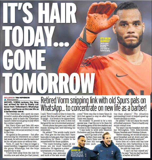 ??  ?? IT'S BEEN GLOVELY Vorm says farewell to football... and hello to hairdressing