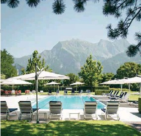 """??  ?? CLOCKWISE FROM LEFT: Grand Resort Bad Ragaz is set in """"Heidiland""""; the Grand Hotel Quellenhof and its garden pool"""