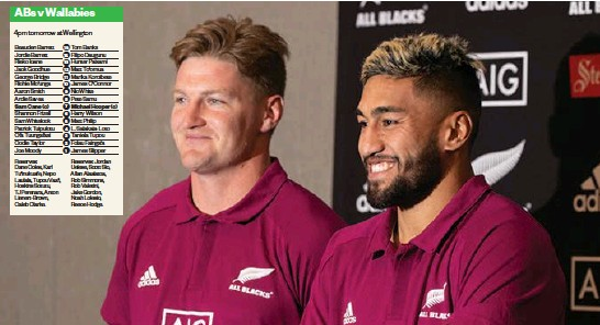 ?? Photo / Mark Mitchell ?? All Blacks Jordie Bar­rett ( left) and Rieko Ioane were the cen­tre of at­ten­tion dur­ing a press con­fer­ence yes­ter­day in Welling­ton ahead of to­mor­row's test against the Wal­la­bies.