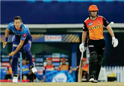 ??  ?? ↑ Trent Boult of Mumbai Indians bowls against Sunrisers Hyderabad during their IPL match on Saturday.