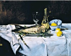 ??  ?? Bring me flesh and bring me wine: Le Saumon (1864) by Edouard Manet