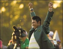 ?? CHARLIE RIEDEL | Associated Press ?? Japan's Hideki Matsuyama sports the green jacket for winning the Masters, shooting a final-round 1-over 73 to finish at 10-under 278.