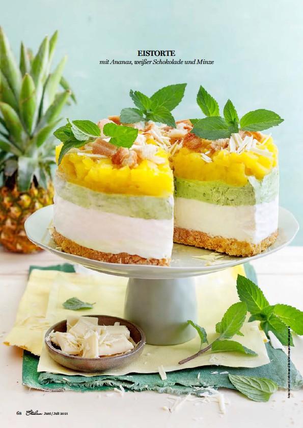 ??  ?? EISTORTE mit Ananas, weißer Schokolade und Minze