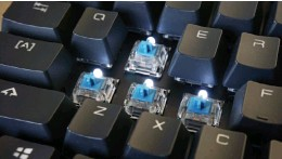 ?? ?? The key stems on the GK300 accommodate any Cherry-style keycaps, though the switches themselves are inferior Cherry knockoffs.