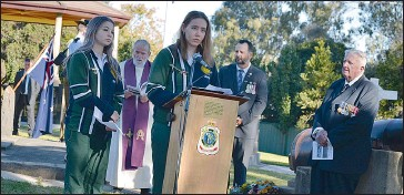 ??  ?? Rutherglen High School captains, Miranda Pleming and Dharma Kotzur (at the microphone) spoke extremely well.