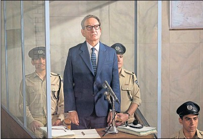 ??  ?? Adolf Eichmann, above, and being played by Ben Kingsley in the trial scenes from the 2018 film Operation Finale