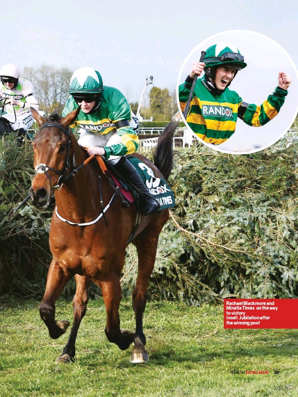 ??  ?? Rachael Blackmore and Minella Times on the way to victory Inset: Jubilation after the winning post