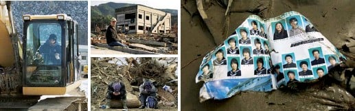 ??  ?? From left: Naomi Hiratsuka uses a digger to search for her lost daughter; a gutted wedding venue; 2011 rescuers rest among uprooted trees; a class photo album among the wreckage of Okawa school