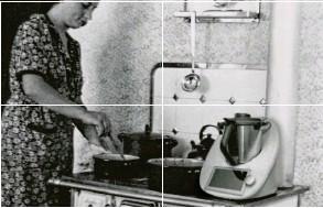 ?? Dieses Foto sendete uns Peter Brixle aus Augsburg. Es zeigt seine Mutter in der Küche mit einem Holzofen in den 30er Jahren. ?? WAS PASST NICHT AUF DIESEM BILD? – KOORDINATEN: