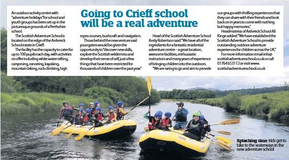 ??  ?? Splashing time Kids get to take to the waterways in the new adventure school