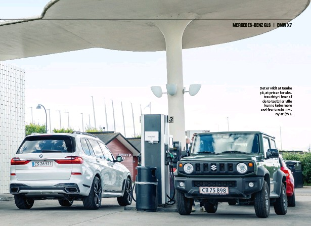 ??  ?? Det er vildt at taenke på, at prisen for ekstraudstyr i hver af de to testbiler ville kunne købe mere end fire Suzuki Jimny'er (th.).