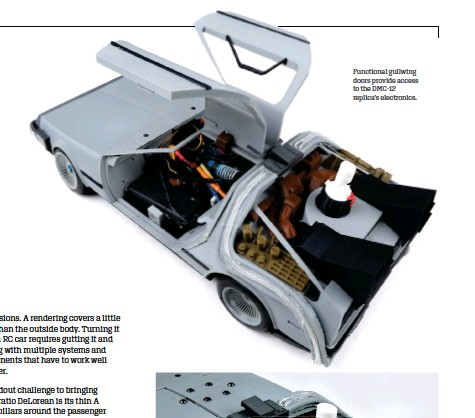??  ?? Functional gullwing doors provide access to the DMC-12 replica's electronic­s.