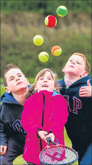 ?? Picture: Steve MacDougall. ?? Darnhall Tennis Club, in the Craigie area of Perth, held an open day on Saturday. Participants were able to drop in and take part in tennis matches, as well as picking up some new skills. Among those taking part were Millie Hutchison, 6, and her...