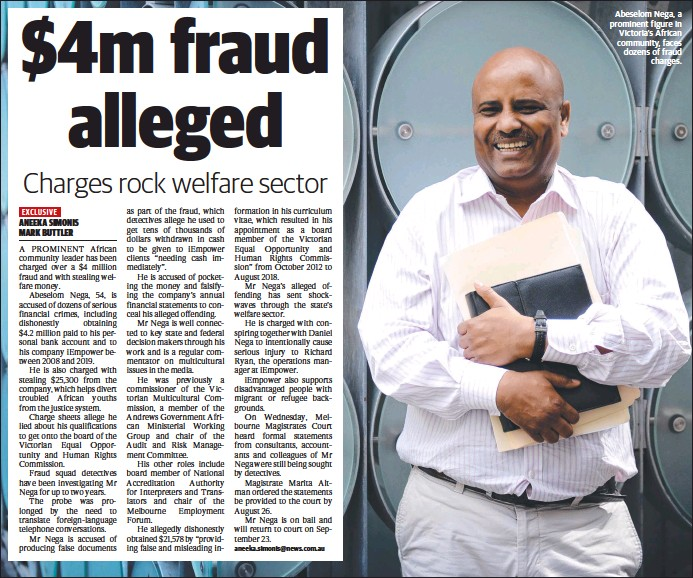 ??  ?? Abeselom Nega, a prominent figure in Victoria's African community, faces dozens of fraud charges.