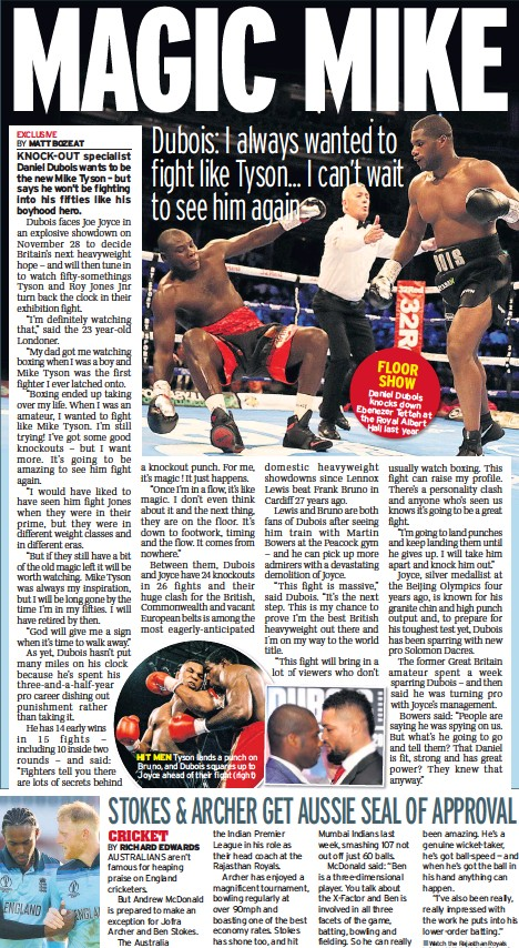 ??  ?? HIT MEN Tyson lands a punch on Bruno, and Dubois squares up to Joyce ahead of their fight (right)