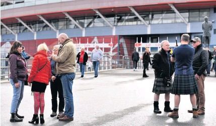 ?? RICHARD SWINGLER ?? Scotland fans had already travelled to Wales by the time the Wales v Scotland game was called off
