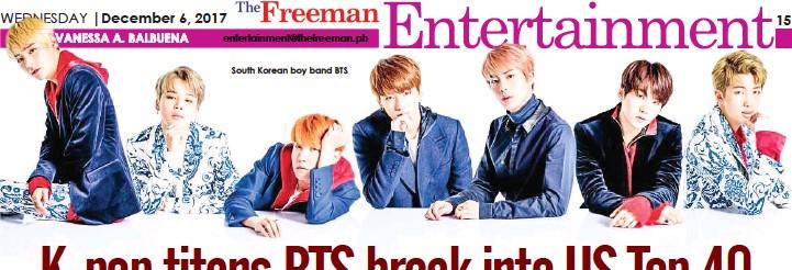 PressReader - The Freeman: 2017-12-06 - K-pop titans BTS