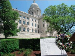?? Sub­mit­ted photo ?? The State­house Gar­den of He­roes hon­ors 28 Rhode Is­landers who have died in mil­i­tary ser­vice since Sept. 11, 2001.