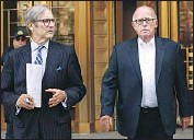 ?? Kathy Willens Associated Press ?? L AW Y E R Robert Gottlieb, left, said drug company CEO Laurence F. Doud III is being made a scapegoat.