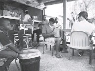?? JOHN BRILEY ?? Pompey Johnson, a Smithsonian-recorded accordionist, plays at CeeDee's Restaurant and Bar on Cat Island.
