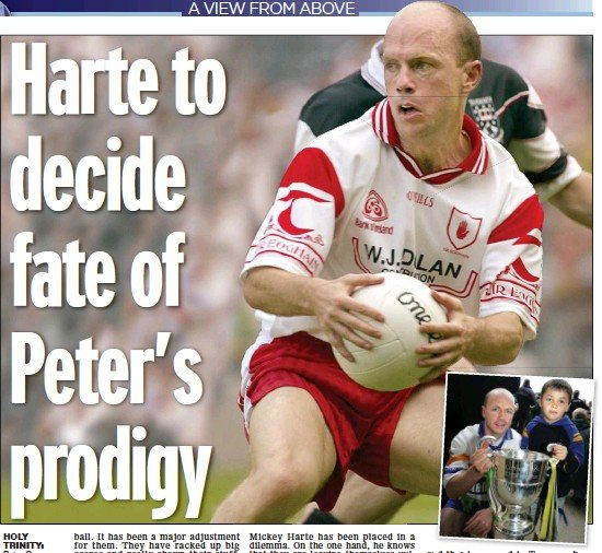 ??  ?? holy trinity: Peter Canavan (main) and with a young Darragh (inset) in 2006; Mickey Harte (below) could today decide how Tyrone play for years to come