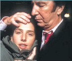 ??  ?? ● Sharleen with Alan Rickman in video for Top 10 hit In Demand