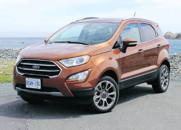 ?? PHOTOS: PETER BLEAKNEY / DRIVING.CA ?? The 2018 Ford EcoSport Titanium won't get pushed around — even in the strong crosswinds of Newfoundland.