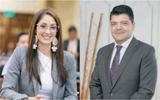 ?? FOTO ?? Jennifer Arias y Juan Diego Gómez fueron elegidos como presidentes de la Cámara de Representantes y del Senado, respectivamente, el martes en la tarde. Hacen parte de la bancada de Gobierno.