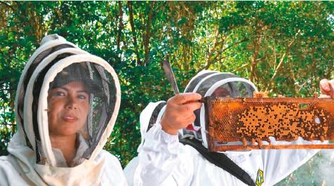 ??  ?? El docente Germán Perilla y una apicultora del proyecto.