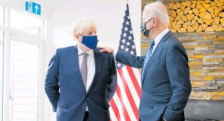 ?? Photo / AP ?? US President Joe Biden yesterday joined British Prime Minister Boris Johnson to unveil a new Atlantic Charter, modelled on the post-World War II blueprint signed by Franklin D Roosevelt and Winston Churchill.