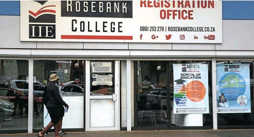 ?? Picture: Thapelo Morebudi ?? Private education group AdvTech's tertiary institutions such as Rosebank College are thriving despite disruptions to the public university system.