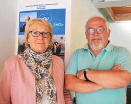 ??  ?? Jocelyne Poitevin avec Dominique Boucheron, un de ses colistiers.