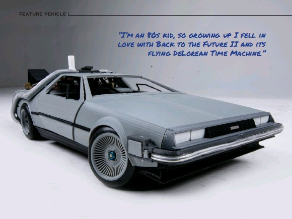 ??  ?? Turnage's Delorean CAD model presented in Chris Rahtbone's illustrati­on style.
