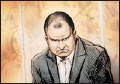 ?? Courtesy Alex Tavshunsky ?? An artist's drawing of Russell Williams during court proceedings in Belleville in October.